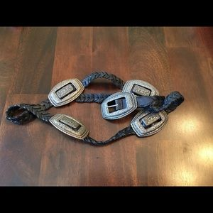 Accessories - Black& silver braided festival belt